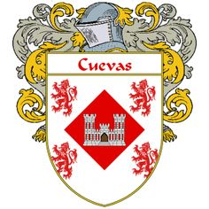 Cuevas Coat of Arms   http://spanishcoatofarms.com/ has a wide variety of products with your Hispanic surname with your coat of arms/family crest, flags and national symbols from Mexico, Peurto Rico, Cuba and many more available upon request.