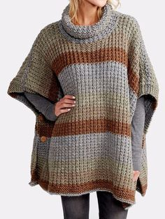 Free Knitting Pattern for 2 Row Repeat Cozy Up Poncho - The 2-row 2-stitch repeat texture of this poncho is designed to showcase multi-color or self-striping yarn. Designed by Erin Kate Archer for Red Heart