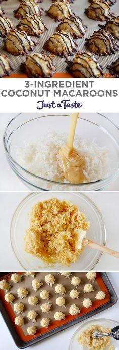 3-Ingredient Coconut Macaroons recipe from justataste.com #recipe #easter