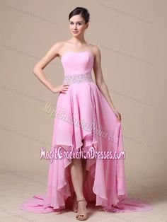 97dc46f247 Baby Pink High-low Strapless Middle School Graduation Dress in Pontoon  Beach Baby Pink Prom