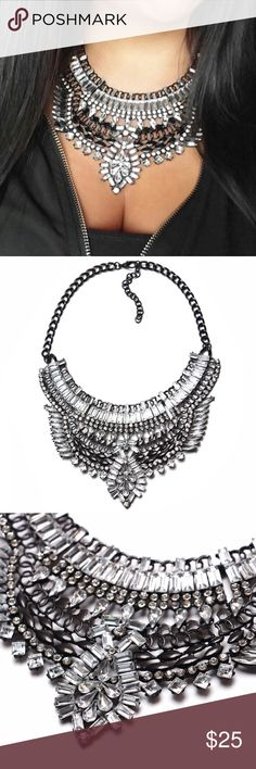 Boho Statement Necklace Black/Crystal Gorgeous boho/tribal style statement necklace in black zinc alloy with crystal detail, listing is for one necklace. Last pick is same necklace (different color) to show dimensions, fourth & fifth image is actual item. Perfect for a night out, or for festival season! ❤️💕❣️                                                                                                                                                🛑 PRICE IS FIRM ON ALL BOUTIQUE ITEMS 🛑…