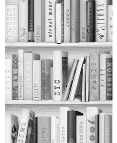 Fashion Library Bookcase Wallpaper Silver 139502 Leather Bound Books