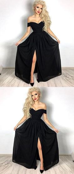 Prom Dress Princess, A-Line Off-the-Shoulder Black Chiffon Prom Dress with Split Shop ball gown prom dresses and gowns and become a princess on prom night. prom ball gowns in every size, from juniors to plus size. Pageant Dresses For Teens, Black Prom Dresses, Black Evening Dresses, A Line Prom Dresses, Tulle Prom Dress, Cheap Prom Dresses, Prom Party Dresses, Homecoming Dresses, Evening Gowns