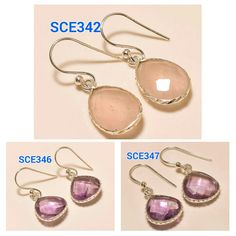 Gemstone Earrings 92.5 Sterling Silver Earrings Handamde Earrings Indian Earrings Amethyst Earrings Quartz Earrings    Handmade    SKU#- SCE342,  Weight- 2.00 Gms.,   Length- 1'' inches, Gemstone- Rose Quartz    SKU#- SCB346,  Weight- 2.00 Gms.,   Length- 1'' inches, Gemstone- Amethyst    SKU#- SCB347,  Weight- 2.00 Gms.,   Length- 1'' inches, Gemstone- Amethyst    Note : Kindly let us know which SKU# you want    WE ACCEPT ALL KIND OF CUSTOM ORDERS AND PLEASE CONTACT FOR WHOLESALE PRICES…