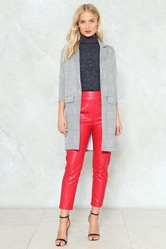Nasty Gal nastygal Along Those Lines Check Blazer Winter Coats Women, Coats For Women, Checked Blazer, Cape Coat, Grey Fashion, Jackets Online, Long A Line, Nasty Gal, Leather Pants
