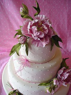 pink peony wedding cake by nice icing, via Flickr