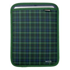 Green Plaid Clan Stewart Hunting Tartan Monogram iPad Sleeve