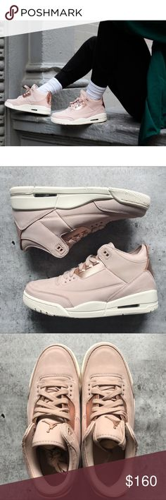 12863755030 Nike Air Jordan 3 Retro Particle Beige Sneakers •Particle beige nubuck  leather upper with rose