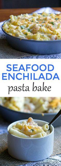 Enchilada Pasta Bake For dinner: Super simple Seafood Enchilada Pasta Bake.For dinner: Super simple Seafood Enchilada Pasta Bake. Seafood Casserole Recipes, Pasta Casserole, Pasta Bake, Seafood Recipes, Pasta Recipes, Healthy Recipes, Fish Recipes, Mexican Food Recipes, Dinner Recipes