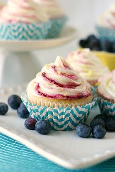 Blueberry Cornbread Cupcakes with Lemon Buttercream - Yummy Crumble. ☀CQ #southern #recipes