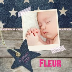 Stoer en lief tegelijk. Een eigentijds geboortekaartje met denim. #baby #foto #geboortekaartje #ster