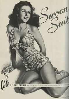 Cole of California ad, scanned fromHarper's Bazaar, May 1944.