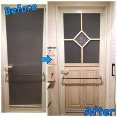 洗面所に入る時に、真正面に見えるお風呂のドア。このドア、どうも気に入らない!! でも、常に湿気のある場所だけに、どうしたらいいものか。。。 試行錯誤して、何とかお気に入りのドアになるまでの過程を、ご覧ください(*´꒳`*)