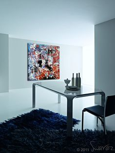 Red, white and blue painting | Jackson Pollock drip art