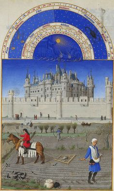 Labors of the Months from the Très Riches Heures- October: Tilling the field. In the background is the Louvre. | The Public Domain Review