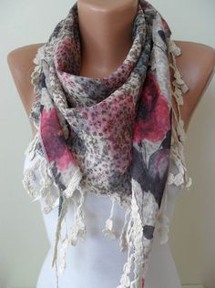 BeigePink and Blue  Flowered  Triangle Scarf  with by SwedishShop, $17.90