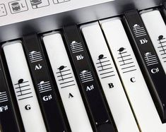 Piano and Keyboard Music Note Full Set Stickers for White and Black Keys with Piano Songs EBook & User Guide; Transparent and Removable!