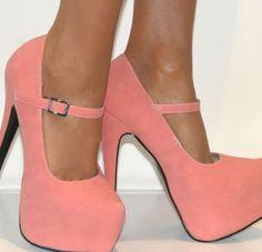 Pink platform pumps