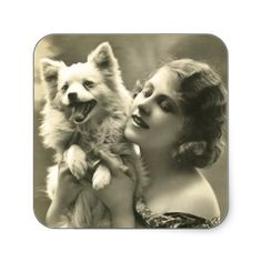 I swear this is my dog Murray in a former life! Vintage Girl and Her Dog Stickers.