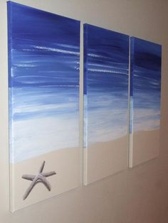 Blue Beach Starfish Seascape Canvas Painting by Artsolutely, $389.90