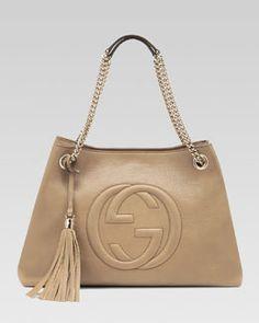 V1CZJ Gucci Soho Leather Medium Chain-Strap Tote, Cream