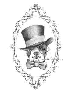 boston terrier gentleman in top hat and bow tie by aphotica, $15.00