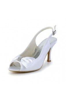 Satin Stiletto Heel Peep Toe, Slingbacks, Pumps Women's Shoes White Wedding Shoes