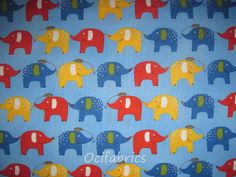 1 Yard ELEPHANTS Cotton Fabric BTY Robert Kaufman by OciFabrics, $8.55