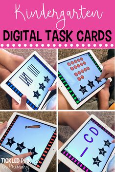 These digital task cards are perfect for your Kindergarten students to practice essential reading and math skills. The task cards play through Powerpoint and are self checking! With over 50 skills included, they can last your whole school year. Number Sense Activities, Geometry Activities, Kindergarten Math Activities, Phonics Activities, Kindergarten Classroom, Fun Math, Learning Activities, Kindergarten Addition, Math Literacy