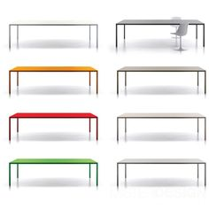 Steel Table - 100 x 280 cm 100 x 280 cm - White by MDF Italia Steel Table, Steel Frame, Interior Architecture, A Table, Chair, Loft Ideas, Design, House, Furniture