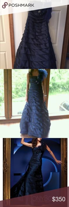 Tony Bowls mermaid prom dress Modified Mermaid Dress with ruffled embellishments at the left hand shoulder, where the single strap makes its way over to the back of the dress. The mermaid silhouette angles outward. Deep navy blue color, runs true to size. Only worn once, in excellent condition. Tony Bowls Dresses Prom