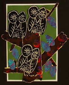 Owl Prints--2nd Grade  Anne Ernst   (art teacher)