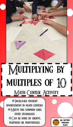 This activity engages students with problems where they have to multiply with multiples of ten. Use in math stations or during guided math. Common Core Curriculum, Common Core Math, Math Resources, Math Activities, Math Games, Math Stations, Math Centers, Elementary Math, Upper Elementary