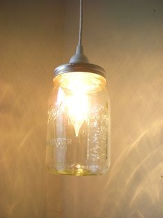 Mason Jar Lighting Hanging Pendant Clear Glass Quart Jar Light Fixture - Upcycled Rustic Wedding Party Lights BootsNGus Lamp Design. $28,00, via Etsy.