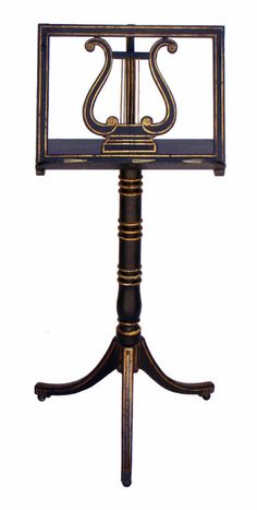 Regency Painted & Gilt Decorated Music Stand, England Regency Painted & Gilt Decorated Music Stand, Classic design with lyre center, telescoping adjustable top, turned & banded column ending in a tri-pod base and small ball feet.