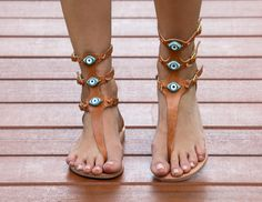 FREE SHIPPING-Matia High Natural- This Greek Inspired handmade natural leather sandal features hand painted ceramic evil eye beads