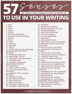 57 senses to use for character awareness, writing tips, writing prompts, writing inspiration Creative Writing Tips, Book Writing Tips, Writing Words, Writing Process, Writing Resources, Writing Help, Creative Writing Inspiration, Story Writing Ideas, Writing Art