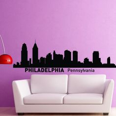 Philadelphia Skyline Wall Decal Vinyl Sticker Pennsylvania City Silhouette Wall Decals Vinyl Stickers Home Decor Living Room Office C012 #walldecals #skyline #vinylstickers #silhouette: