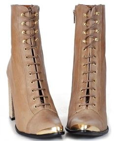 Jeffrey Campbell Taupe and Snake Antonio Lace Up Boot