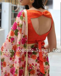 blouse designs Beautiful bow back blouse by Designer Blouse Ideas . Tag your picture with Blouse Designs High Neck, Simple Blouse Designs, Stylish Blouse Design, Fancy Blouse Designs, Sari Blouse Designs, Bridal Blouse Designs, Sari Bluse, Blouse Designs Catalogue, Designer Blouse Patterns