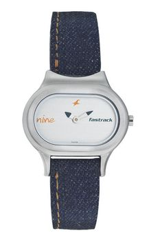 An elliptical case having a white dial with splashes of orange and black on the dial and hands. The strap is denim textured with contrast stitching.    Denim from Fastrack     http://www.fastrack.in/product/n2394sl03/?filter=yes=2=995=2295=4&_=1339957488152#
