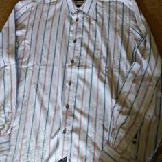 MARC ECKO Cut-n-Sew Mens XL Casual Shirt L/S Button Front Striped Embroidery EUC #MarcEcko #ButtonFront
