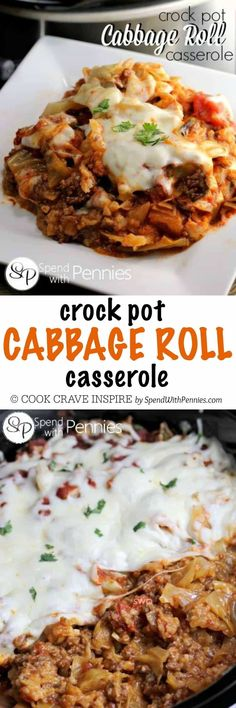 Deliciously easy, this Cabbage Roll Casserole recipe cooks up in the slow cooker all day. All of the flavor without all of the fuss, this is sure to become a regular in your dinner rotation! Leave out rice for low carb! Crockpot Dishes, Crock Pot Slow Cooker, Crock Pot Cooking, Beef Dishes, Slow Cooker Recipes, Food Dishes, Crockpot Recipes, Cooking Recipes, Pastry Recipes