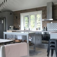{ GREY it is... } #kistefoss #jotun #dunkel #telemarkhytter A Frame House Plans, House Plan With Loft, Cottage Kitchens, Home Kitchens, Modern Log Cabins, Tiny House Trailer, Log Cabin Homes, Transitional Decor, Halle