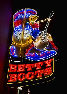 Betty Boots - photograph by Stephen Stookey fineartamerica.com #bettyboots #neonsigns #signage