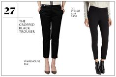 The Cropped Black Trouser. Perfect with a short, black boot and a white blouse with a long, modern necklace and bracelet to add some edge. Great dressed up for the office, or glammed up to go out. (Maybe with a glittery shirt and a velvet, short, deep purple boot. Add some dangly earrings. and your ready to go out.)