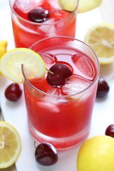 All the fresh and tart flavor you love about lemonade infused with a sweet cherry simple syrup! Cherry Lemonade, Sweet Cherries, Non Alcoholic Drinks, Frappe, Simple Syrup, The Fresh, Tart, Smoothies, Ethnic Recipes
