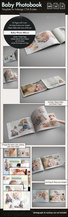 Baby Photobook Album Template g2 - A4 Landscape #design Download: http://graphicriver.net/item/baby-photobook-album-template-g2-a4-landscape/13898753?ref=ksioks