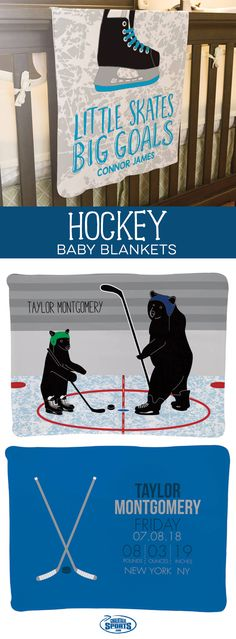 Our hockey baby blankets feature fun and unique designs that will make a perfect addition to your future hockey player's nursery! Personalize yours for a special gift they'll treasure for years!