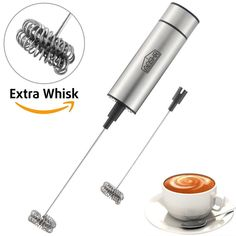 AOSHR Milk Frother Handheld Double Spring Whisk Head Powerful Electric Milk Frother with Additional Double Spring Whisk Head Coffee Milk, Best Coffee, Gelato Bar, Best Mixed Drinks, Fall Drinks, Summer Drinks, Pumpkin Spiced Latte Recipe, Latte Art, Modern Kitchen Design